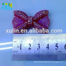40mm*25 mm AB plated small bow flat back resin rhinestone